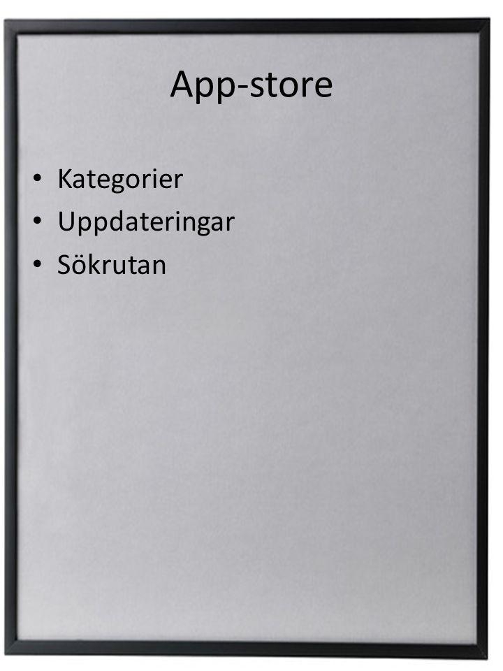 App-store Kategorier Uppdateringar Sökrutan
