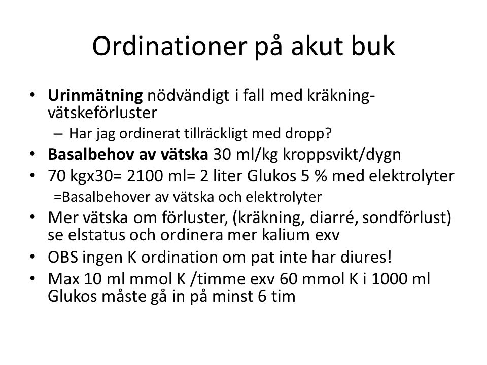 Ordinationer på akut buk