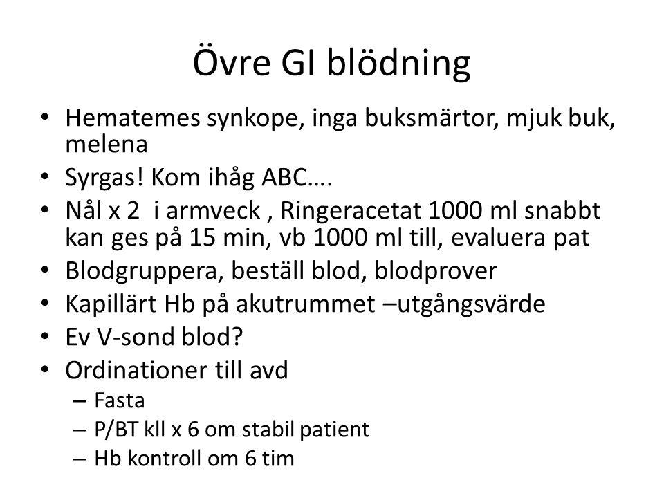Övre GI blödning Hematemes synkope, inga buksmärtor, mjuk buk, melena