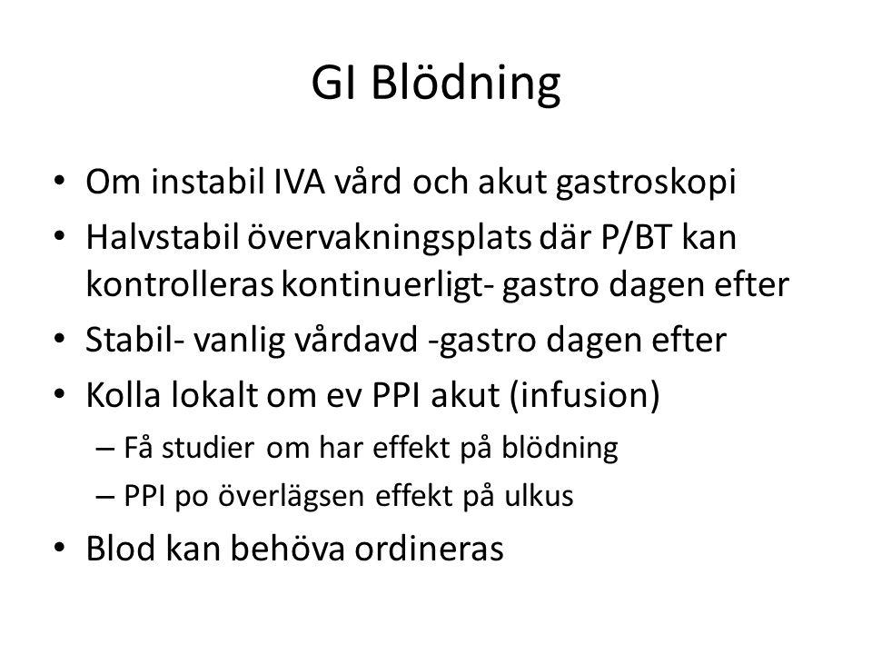 GI Blödning Om instabil IVA vård och akut gastroskopi