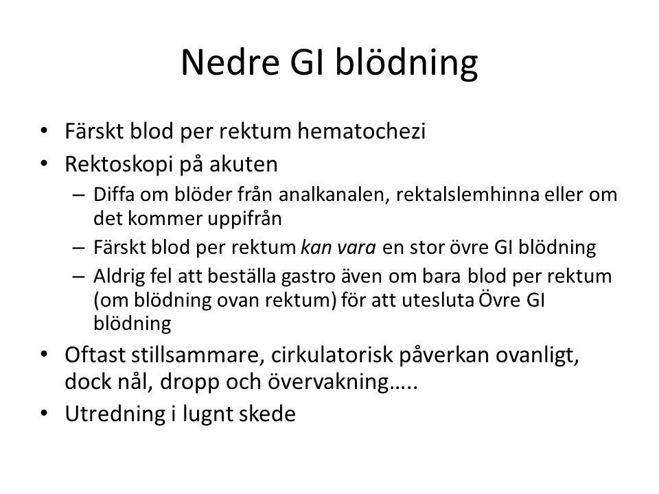 Nedre GI blödning Färskt blod per rektum hematochezi
