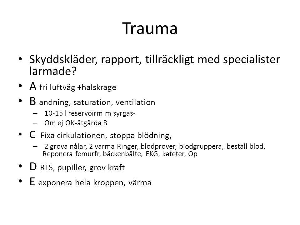 Trauma Skyddskläder, rapport, tillräckligt med specialister larmade