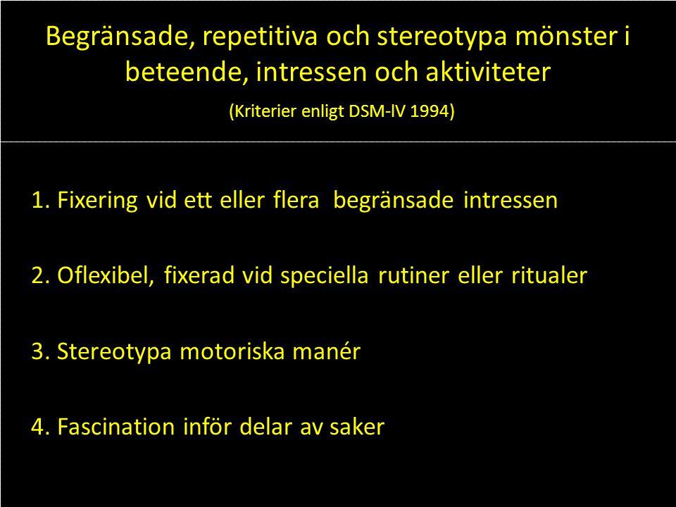 Begränsade, repetitiva och stereotypa mönster i beteende, intressen och aktiviteter (Kriterier enligt DSM-lV 1994)