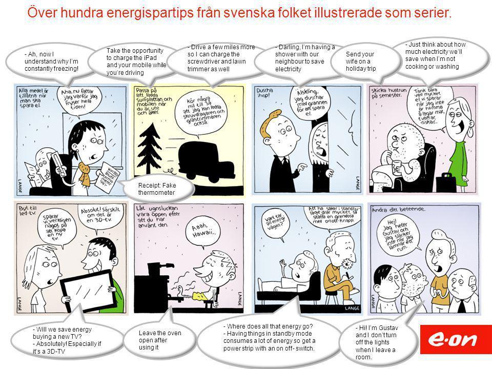 Över hundra energispartips från svenska folket illustrerade som serier.