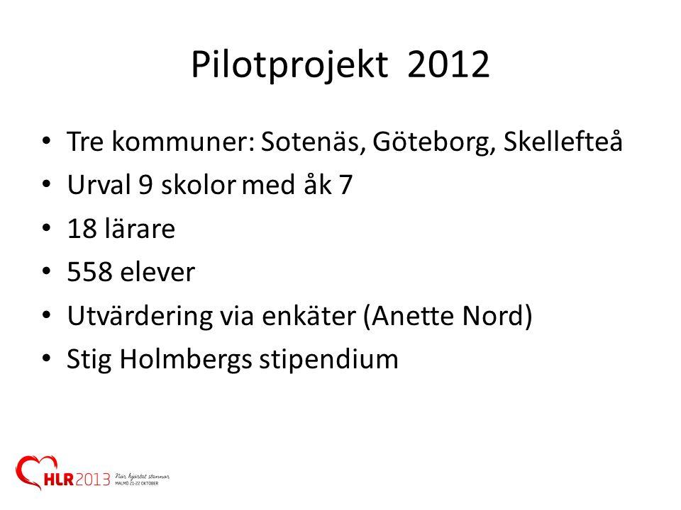 Pilotprojekt 2012 Tre kommuner: Sotenäs, Göteborg, Skellefteå