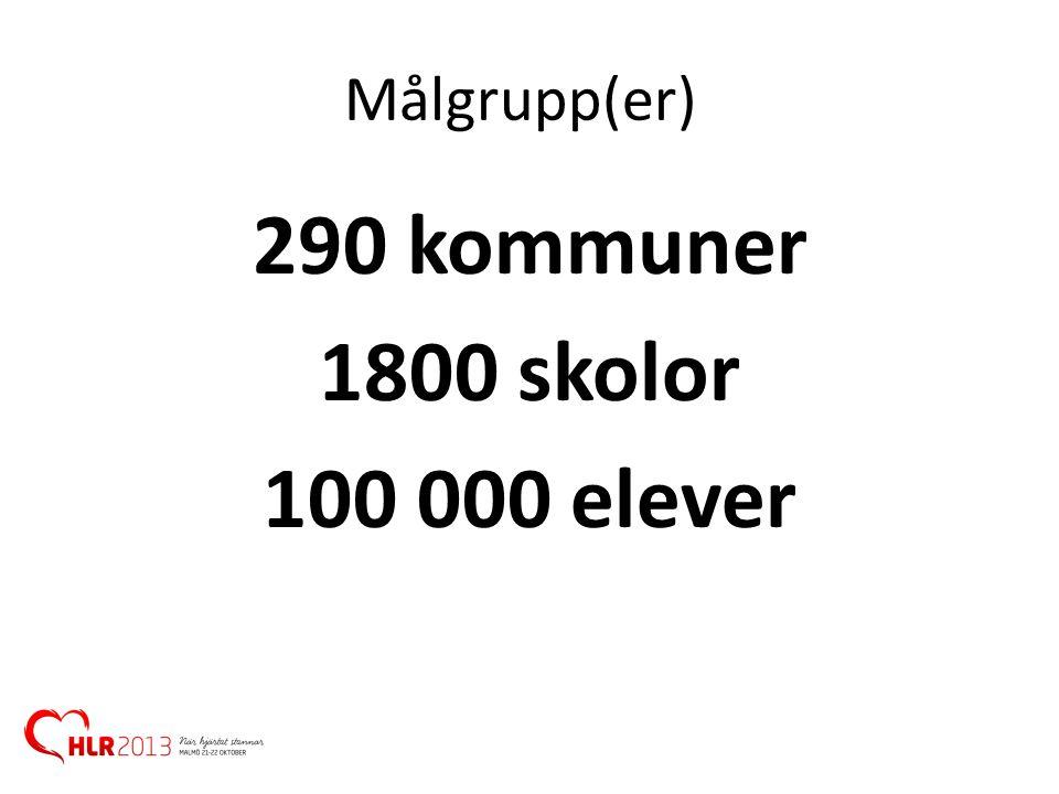 290 kommuner 1800 skolor 100 000 elever