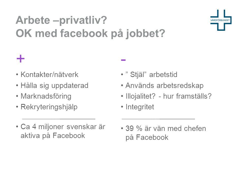 Arbete –privatliv OK med facebook på jobbet