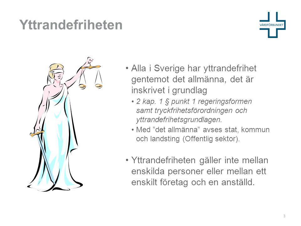 Yttrandefriheten Alla i Sverige har yttrandefrihet gentemot det allmänna, det är inskrivet i grundlag.