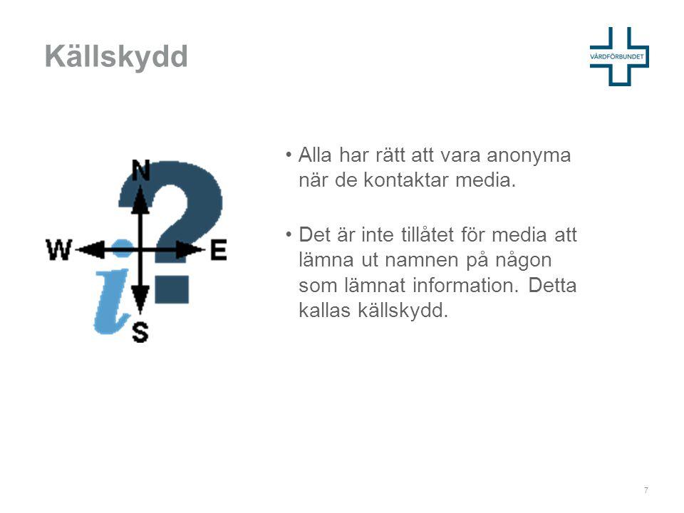 Källskydd Alla har rätt att vara anonyma när de kontaktar media.