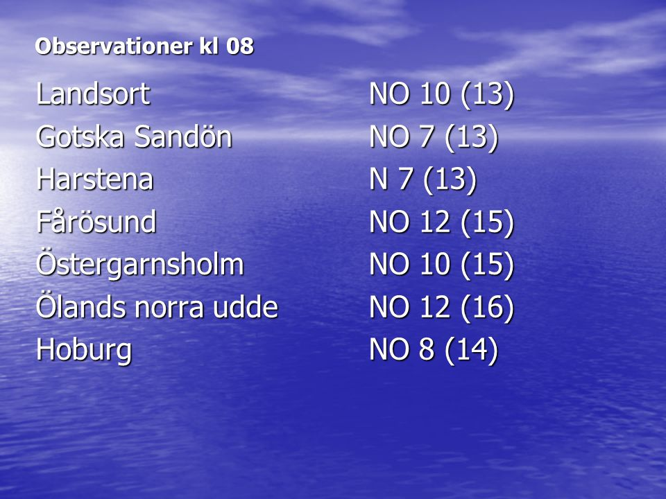 Landsort NO 10 (13) Gotska Sandön NO 7 (13) Harstena N 7 (13)