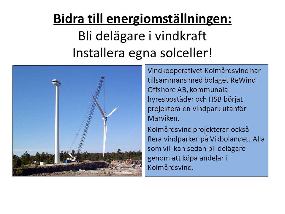 Bidra till energiomställningen: Bli delägare i vindkraft Installera egna solceller!