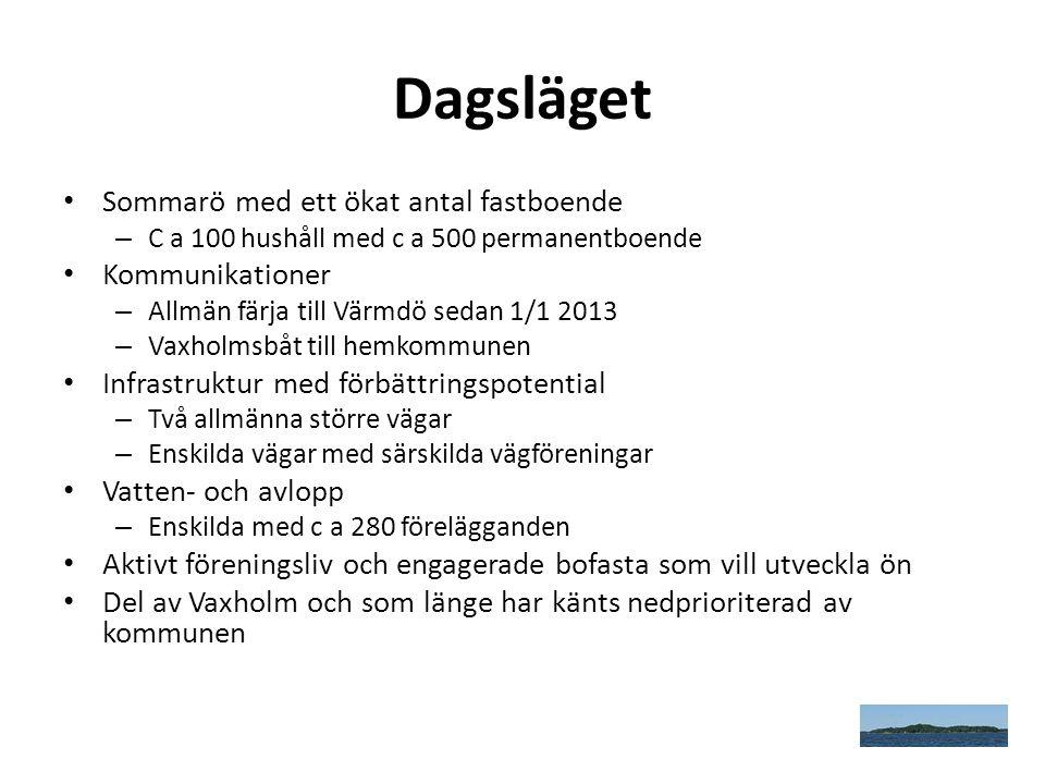 Dagsläget Sommarö med ett ökat antal fastboende Kommunikationer