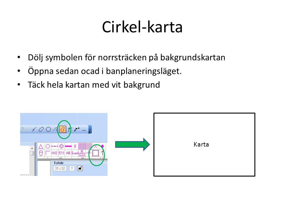 Cirkel-karta Dölj symbolen för norrsträcken på bakgrundskartan
