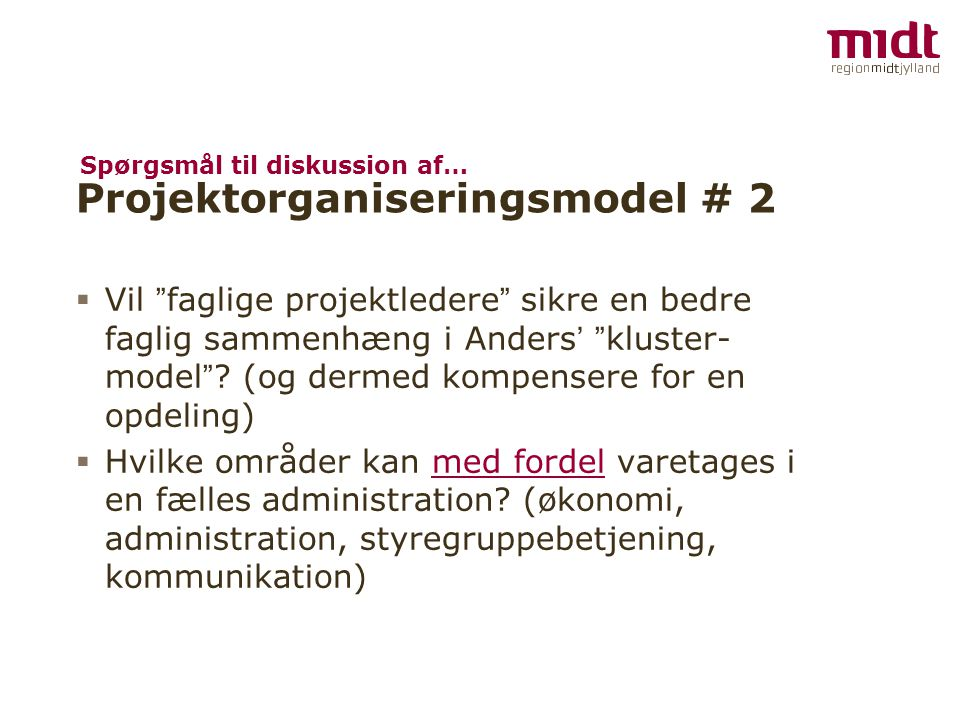 Projektorganiseringsmodel # 2