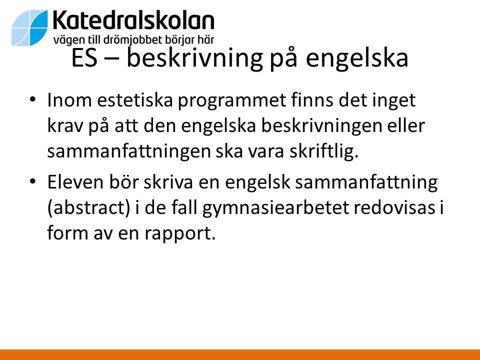 ES – beskrivning på engelska