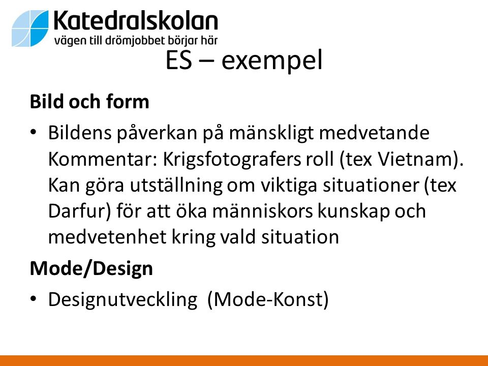 ES – exempel Bild och form