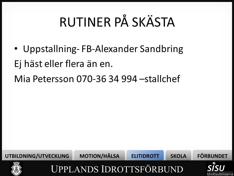 RUTINER PÅ SKÄSTA Uppstallning- FB-Alexander Sandbring