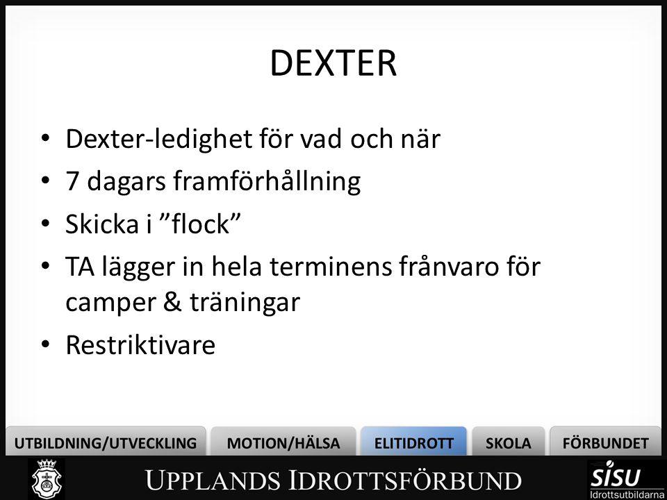DEXTER Dexter-ledighet för vad och när 7 dagars framförhållning