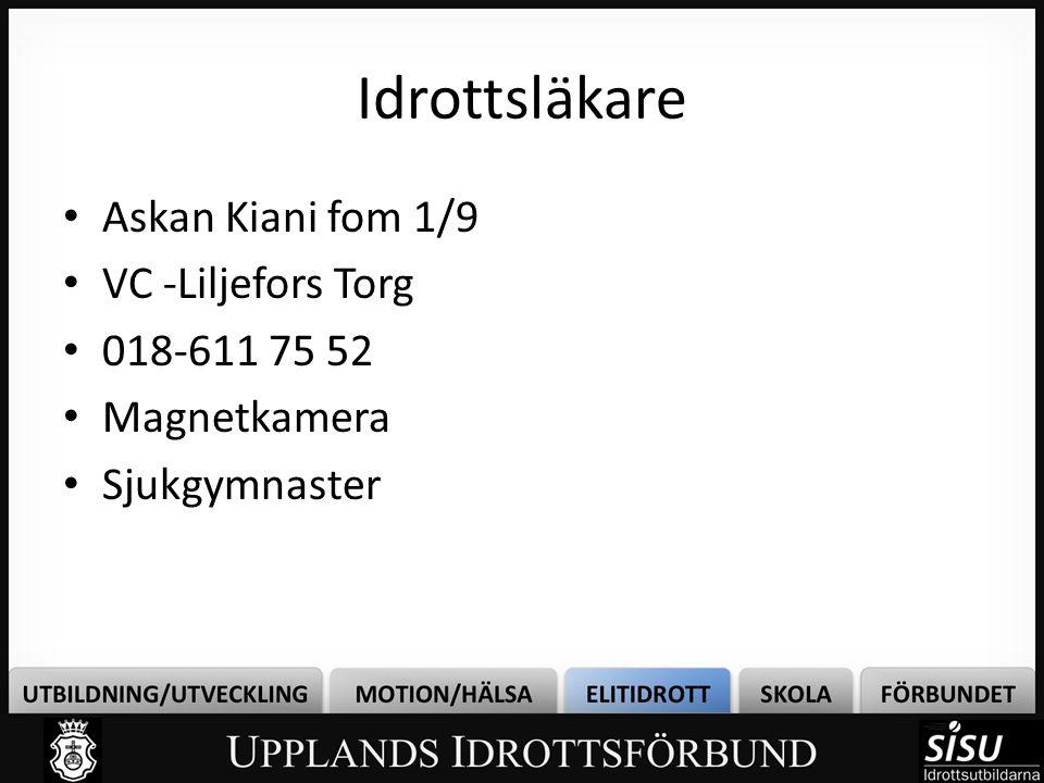 Idrottsläkare Askan Kiani fom 1/9 VC -Liljefors Torg 018-611 75 52