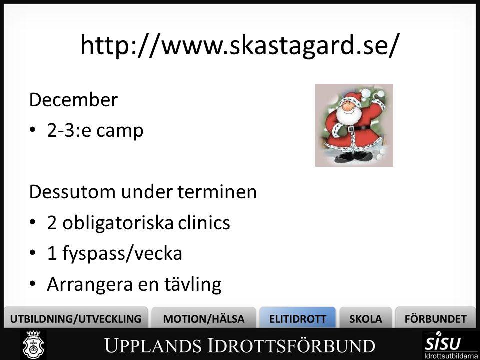 http://www.skastagard.se/ December 2-3:e camp Dessutom under terminen