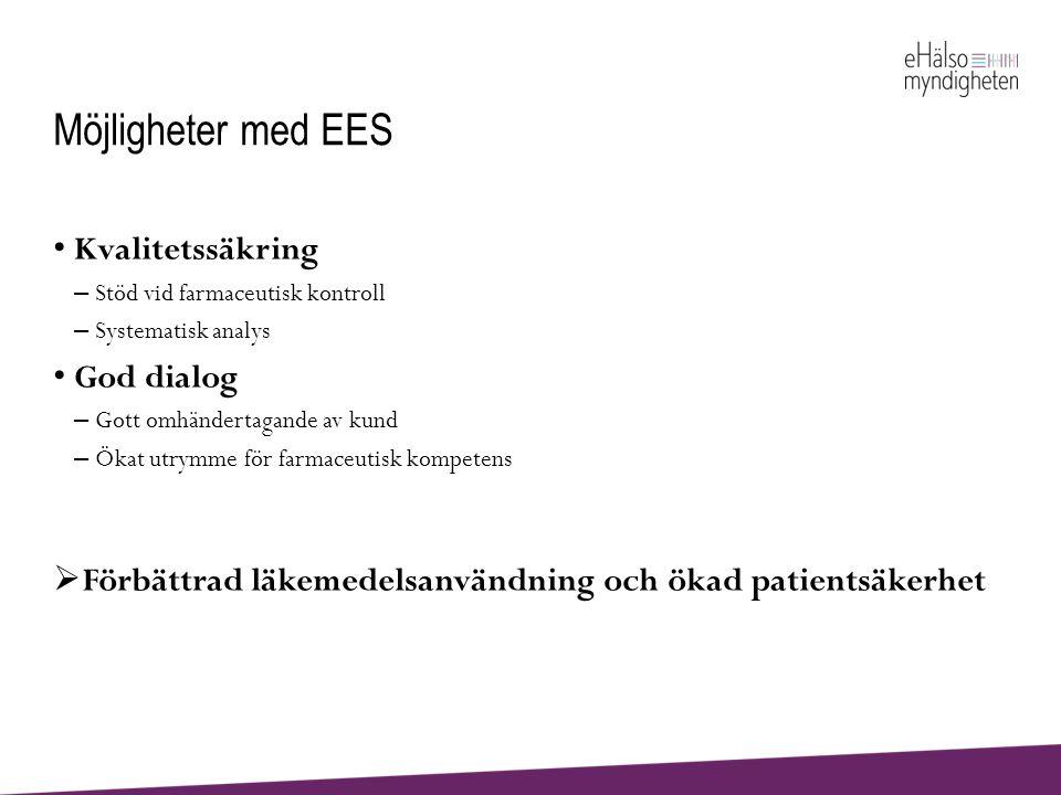Möjligheter med EES Kvalitetssäkring God dialog