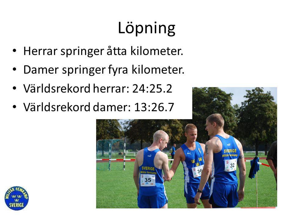 Löpning Herrar springer åtta kilometer. Damer springer fyra kilometer.