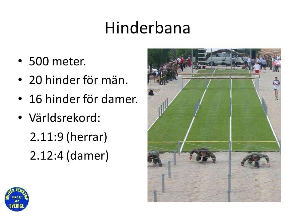 Hinderbana 500 meter. 20 hinder för män. 16 hinder för damer.