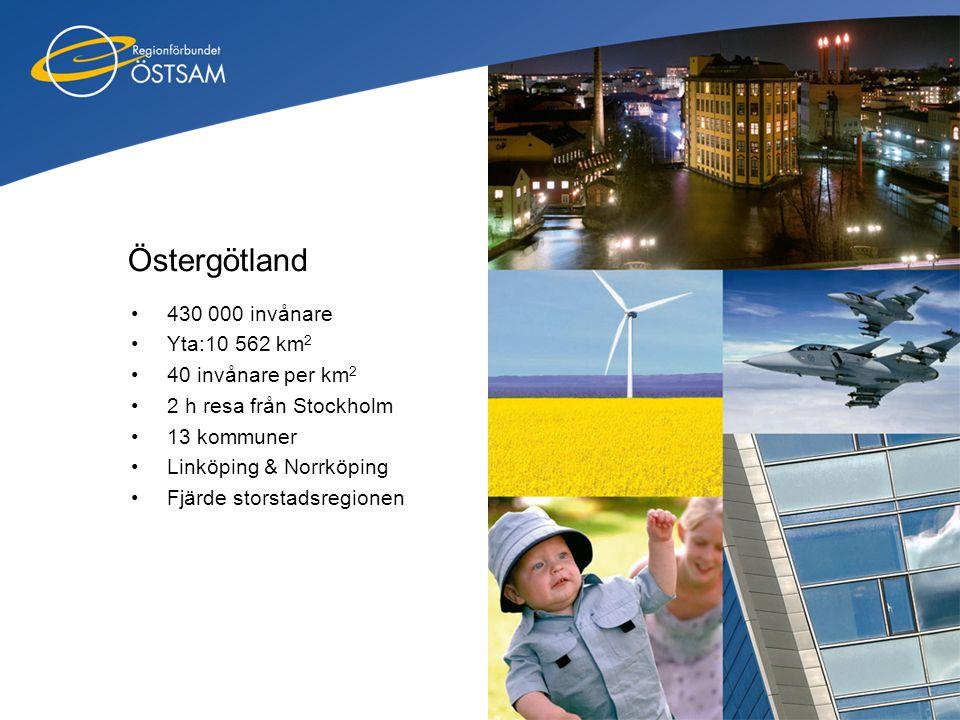 Östergötland 430 000 invånare Yta:10 562 km2 40 invånare per km2
