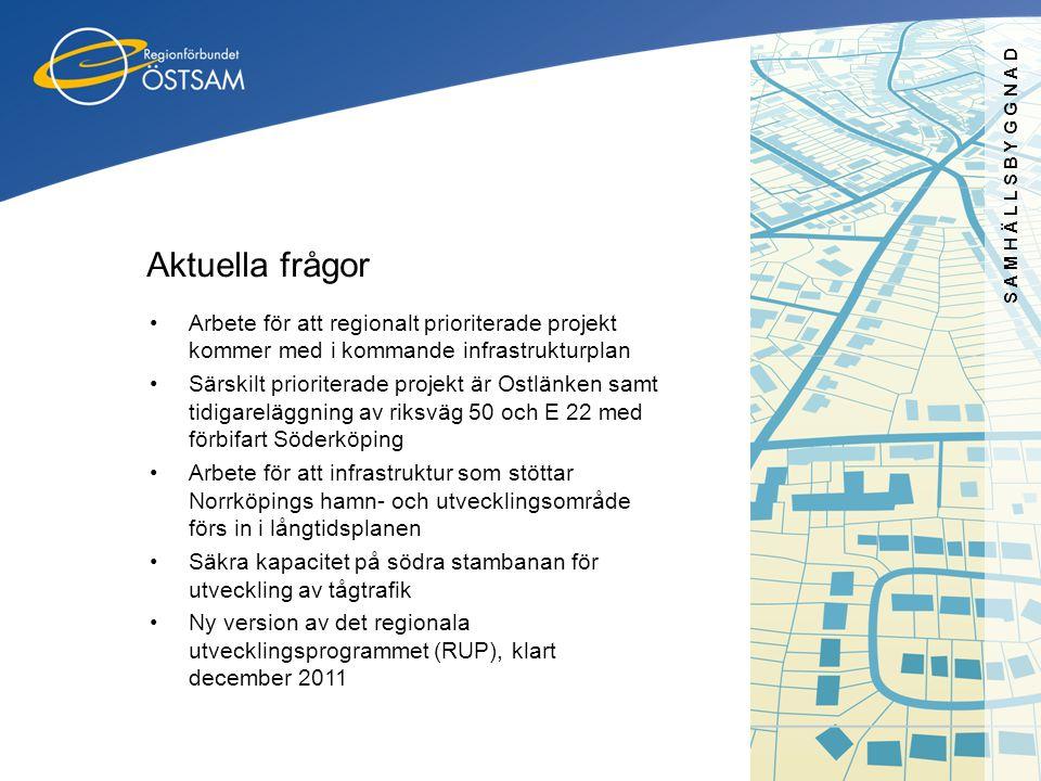 SAMHÄLLSBYGGNAD Aktuella frågor. Arbete för att regionalt prioriterade projekt kommer med i kommande infrastrukturplan.