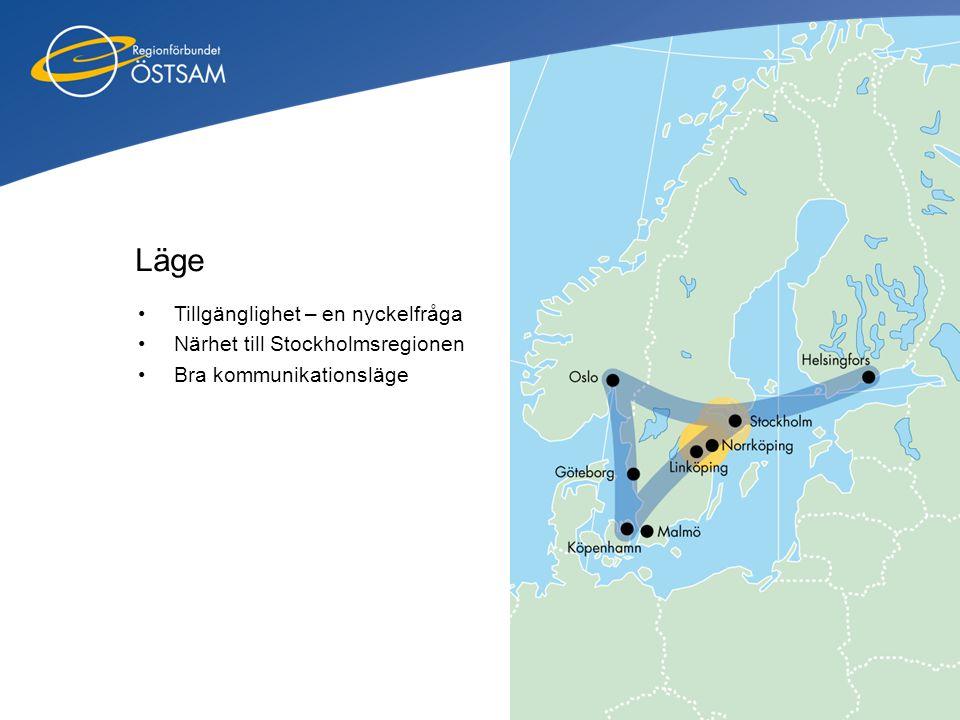 Läge Tillgänglighet – en nyckelfråga Närhet till Stockholmsregionen
