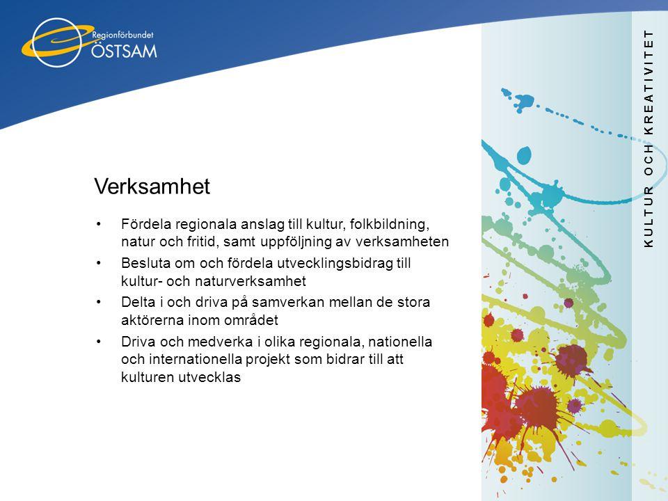 Verksamhet Fördela regionala anslag till kultur, folkbildning, natur och fritid, samt uppföljning av verksamheten.