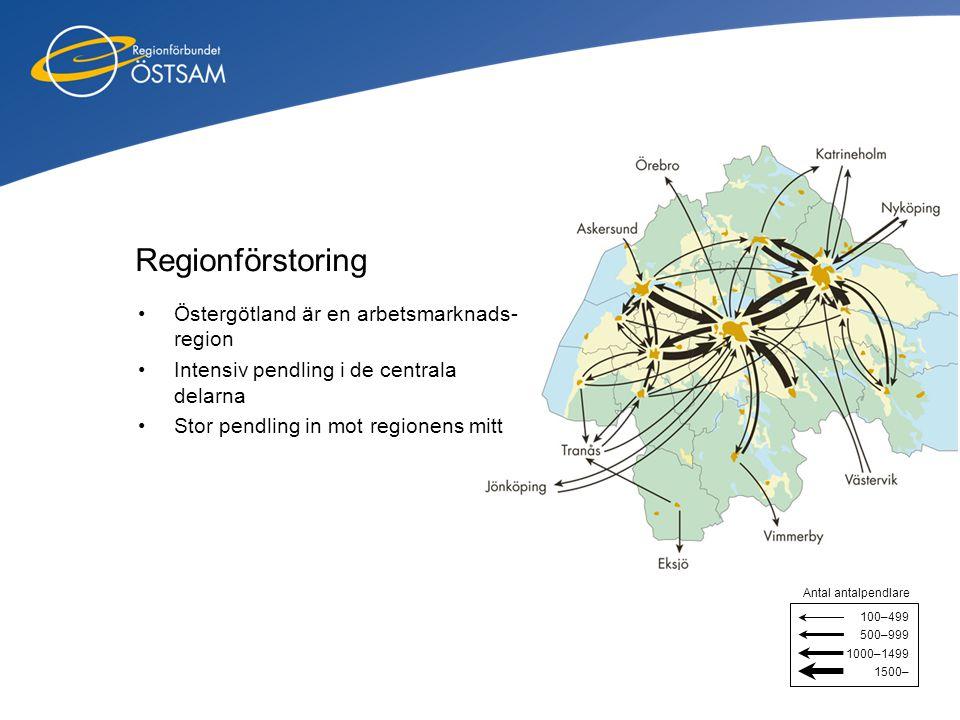 Regionförstoring Östergötland är en arbetsmarknads-region