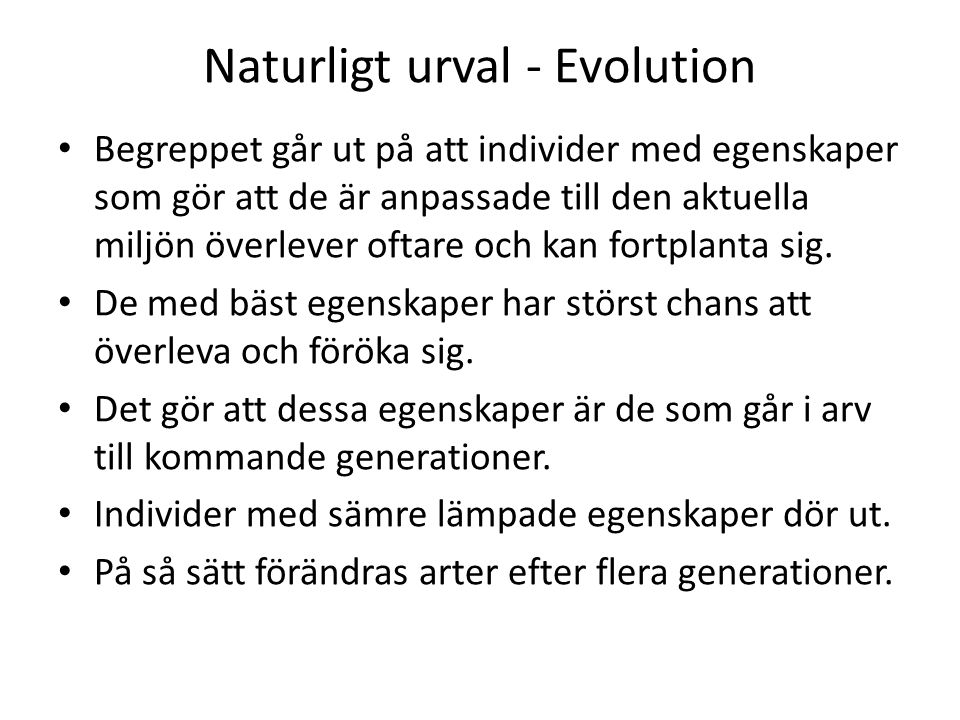 Naturligt urval - Evolution