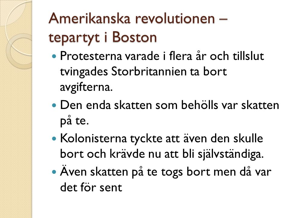 Amerikanska revolutionen – tepartyt i Boston