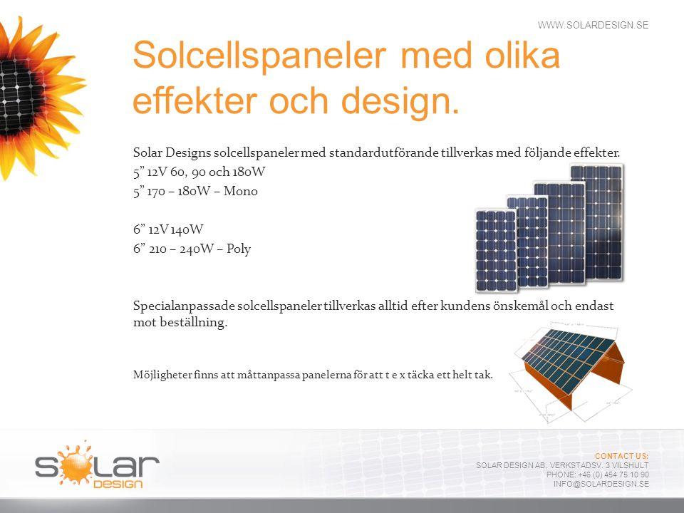 Solcellspaneler med olika effekter och design.