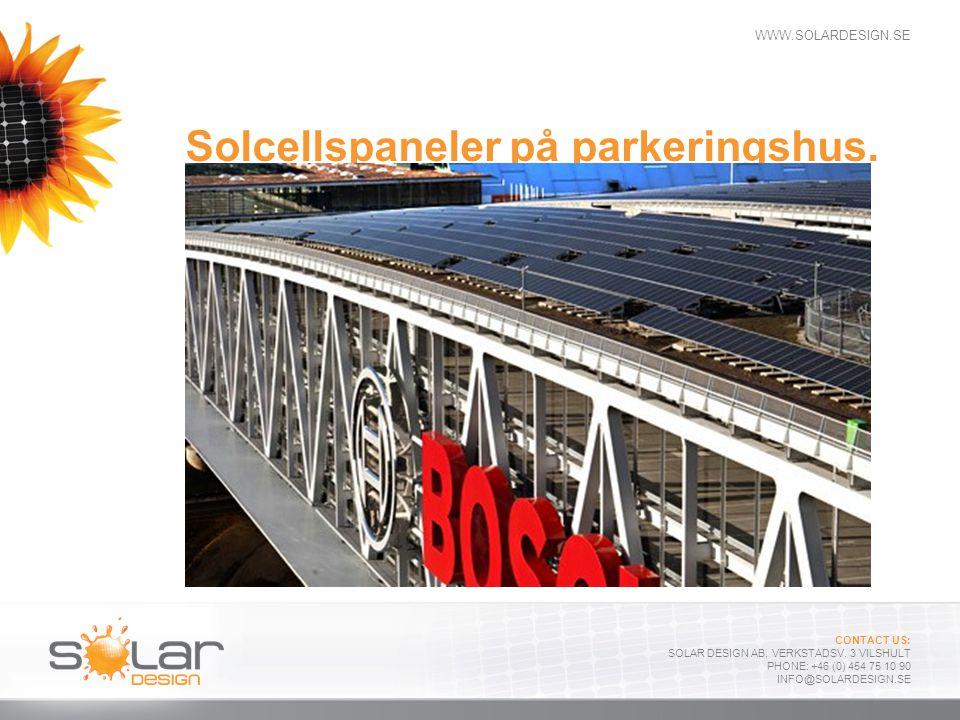 Solcellspaneler på parkeringshus.