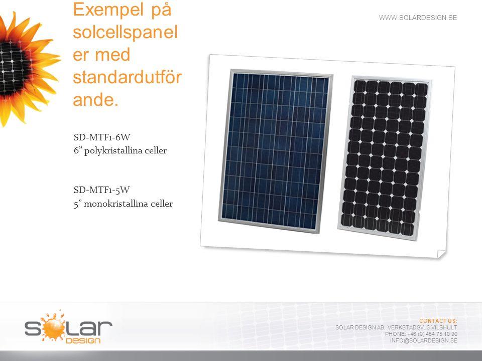 Exempel på solcellspaneler med standardutförande.