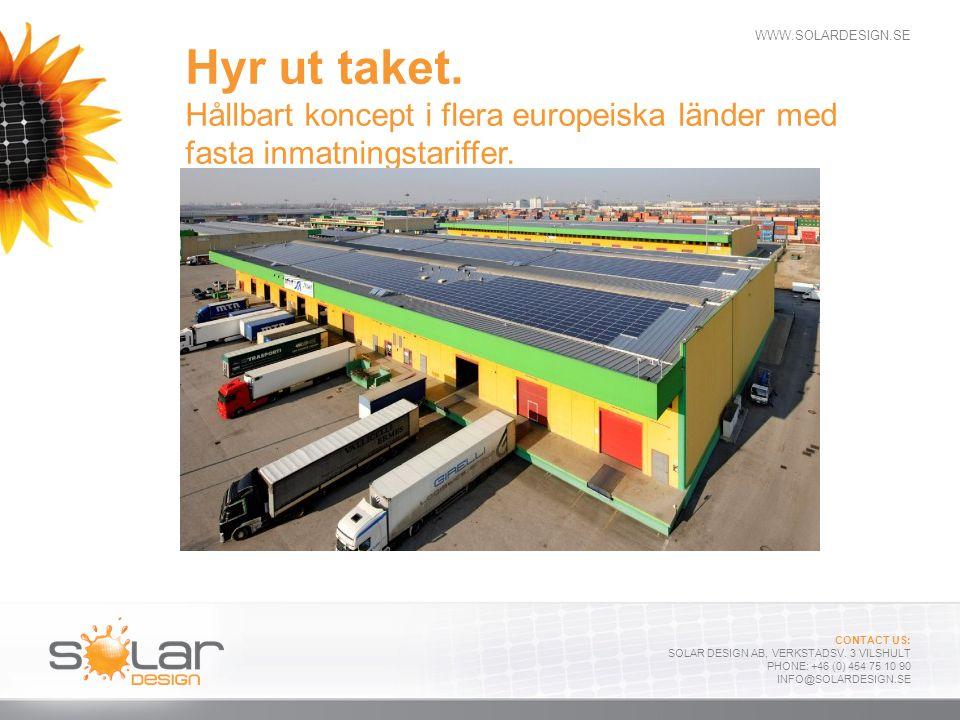 Hyr ut taket. Hållbart koncept i flera europeiska länder med fasta inmatningstariffer.