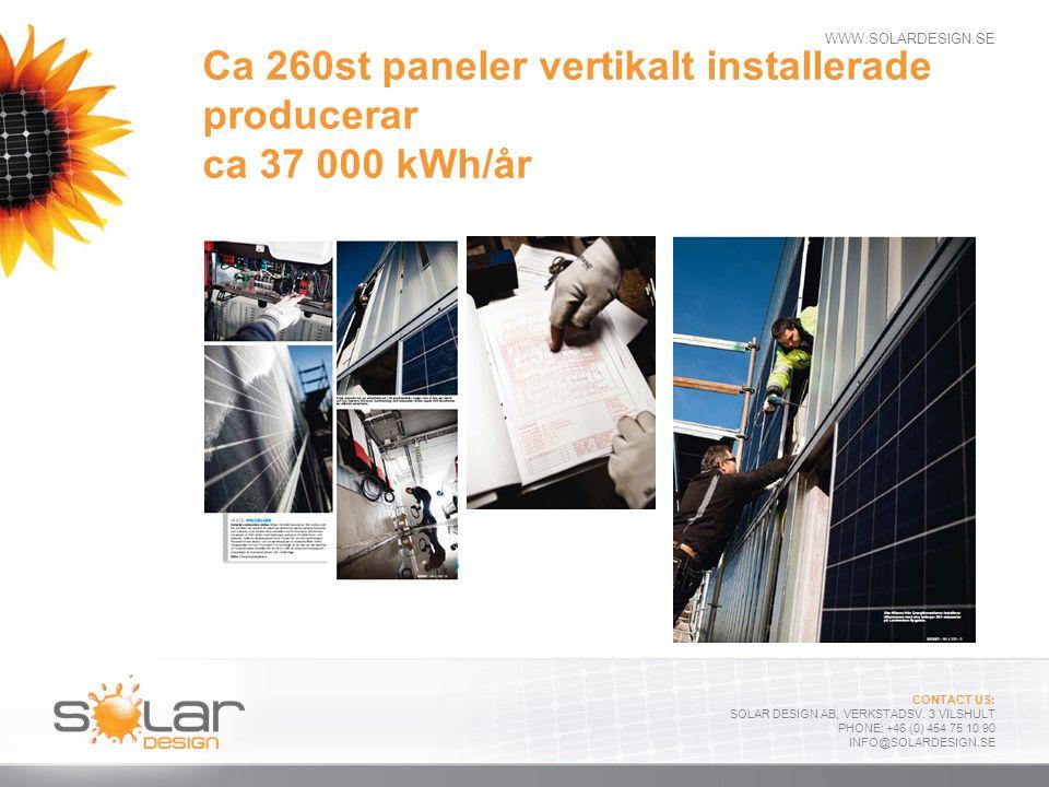 Ca 260st paneler vertikalt installerade producerar ca 37 000 kWh/år