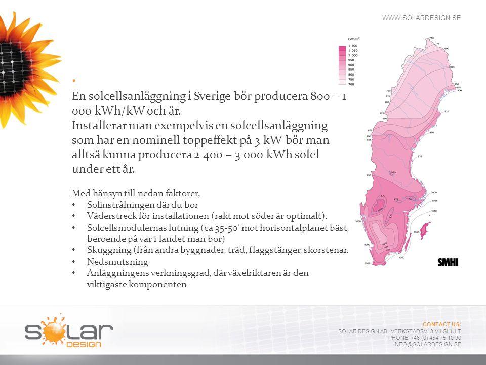 . En solcellsanläggning i Sverige bör producera 800 – 1 000 kWh/kW och år.