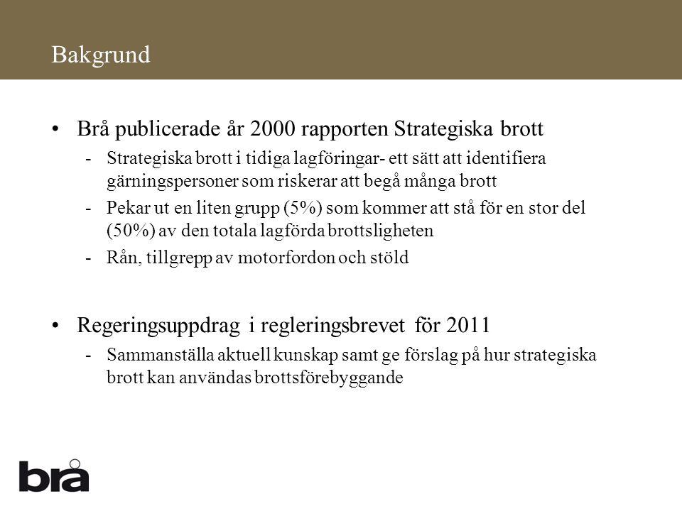 Bakgrund Brå publicerade år 2000 rapporten Strategiska brott