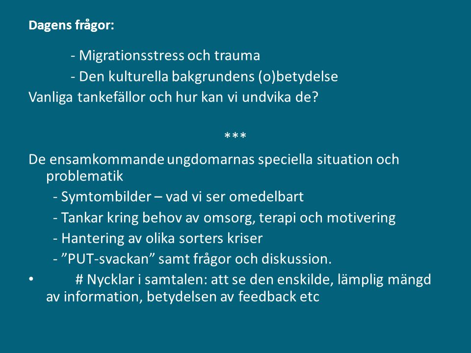 - Migrationsstress och trauma