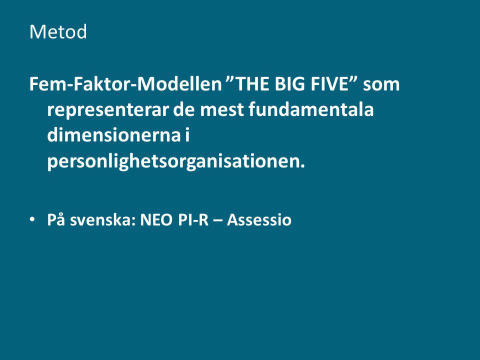 Metod Fem-Faktor-Modellen THE BIG FIVE som representerar de mest fundamentala dimensionerna i personlighetsorganisationen.