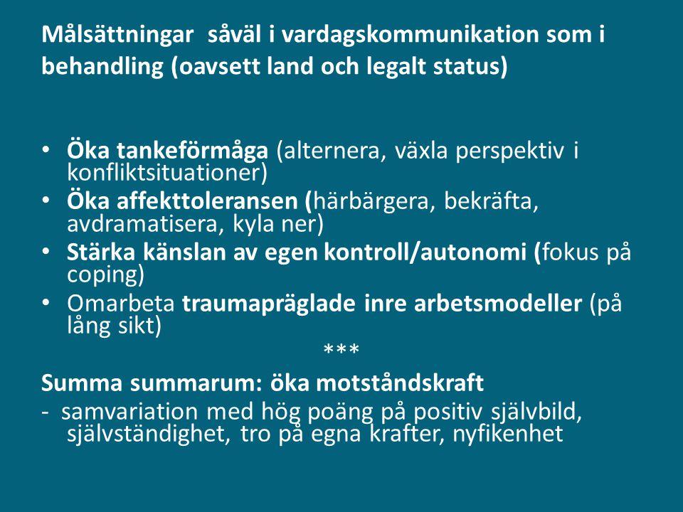 Målsättningar såväl i vardagskommunikation som i behandling (oavsett land och legalt status)