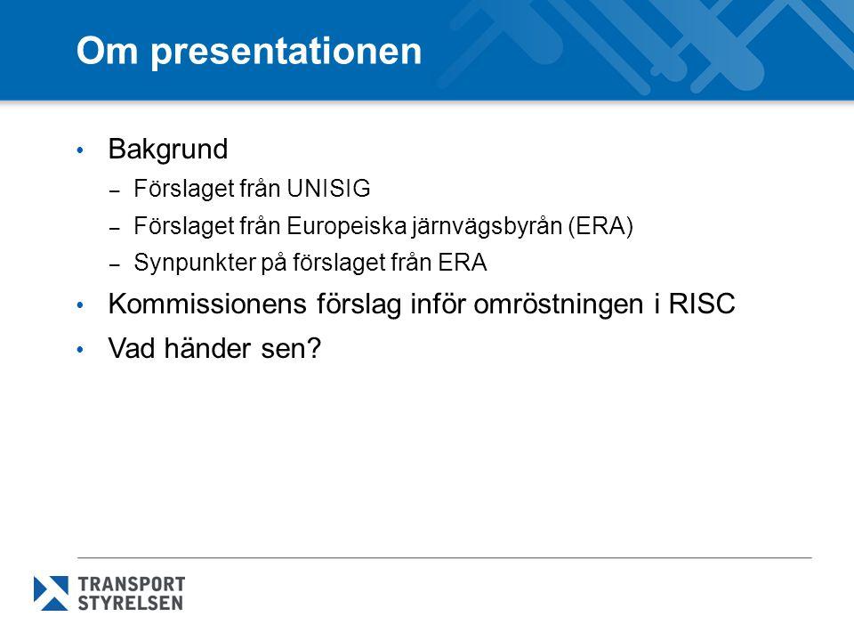 Om presentationen Bakgrund