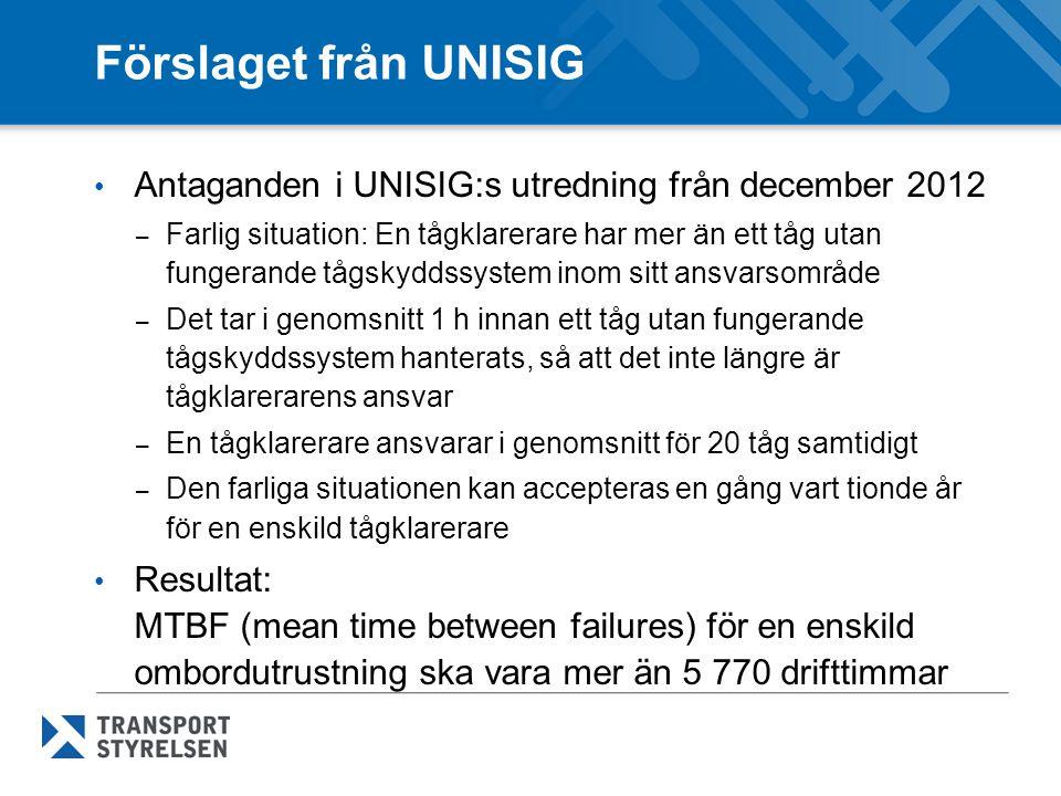 Förslaget från UNISIG Antaganden i UNISIG:s utredning från december 2012.