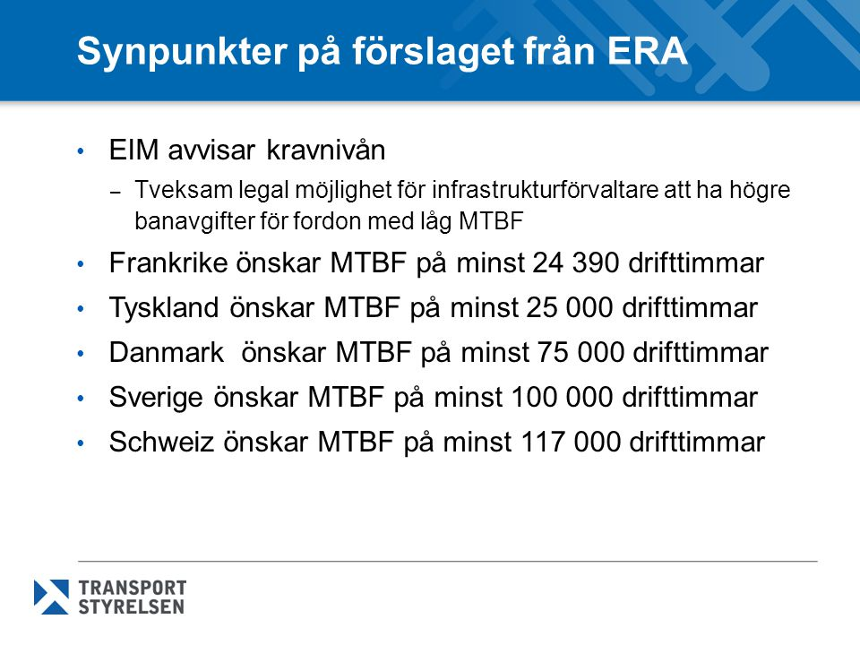 Synpunkter på förslaget från ERA