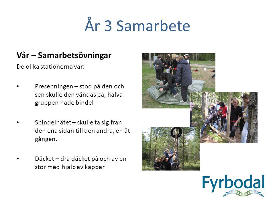 År 3 Samarbete Vår – Samarbetsövningar De olika stationerna var: