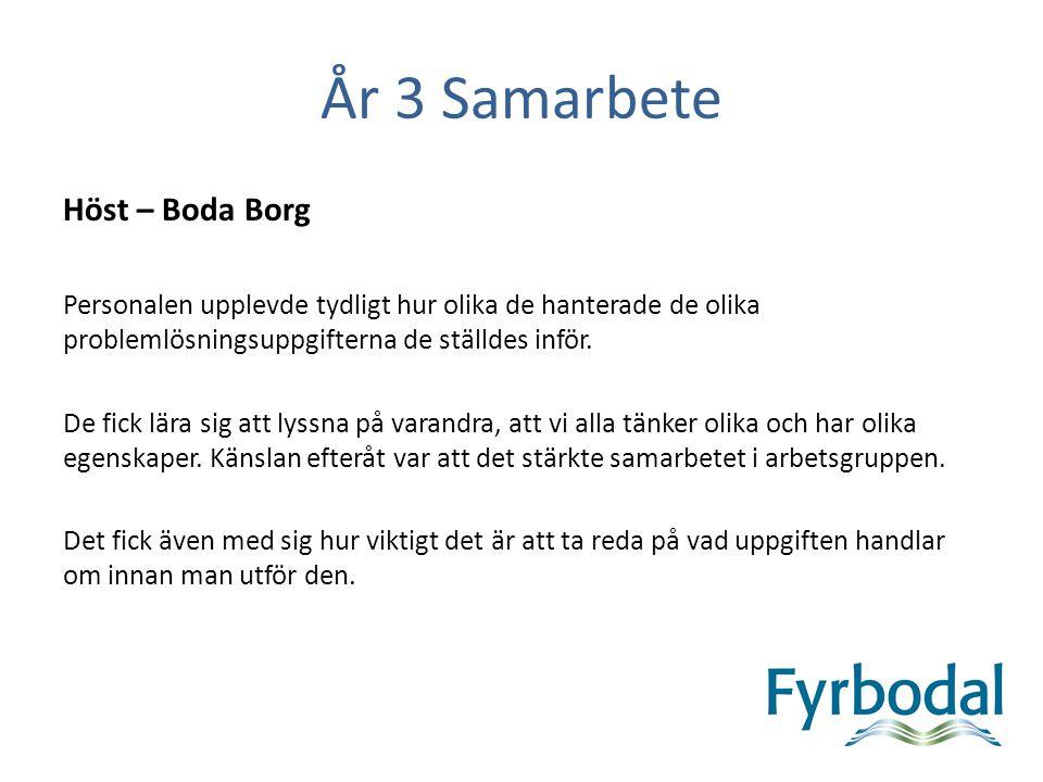 År 3 Samarbete Höst – Boda Borg