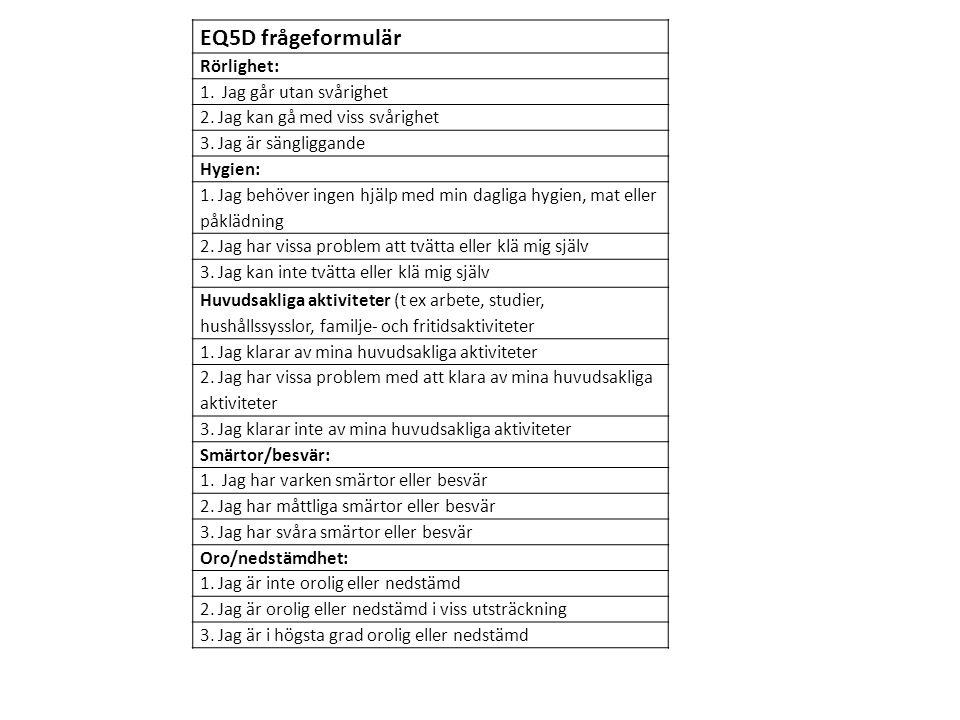 EQ5D frågeformulär Rörlighet: 1. Jag går utan svårighet